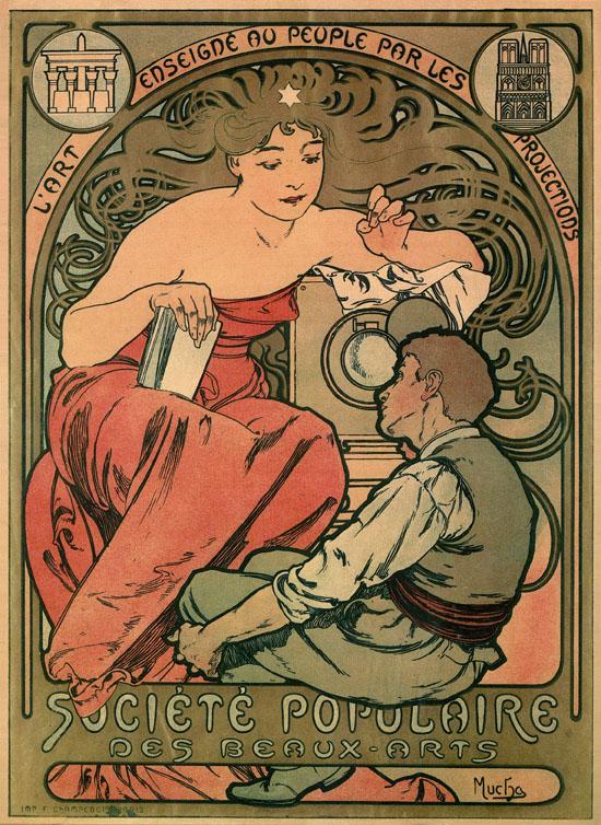 Affiche de MUCHA pour la Société Populaire des Beaux-Arts