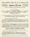 APRES L'ECOLE : revue éditée par la librairie E. CORNELY dans Images projetees AprEcole-02-122x150